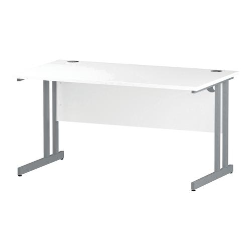 Trexus Rectangular Desk Silver Cantilever Leg 1400x800mm White Ref I000306