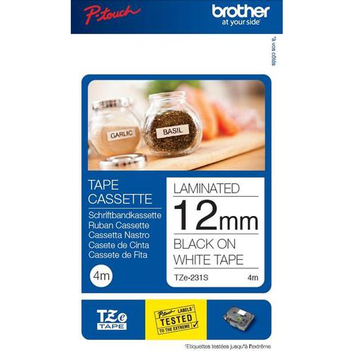 Brother TZe231 12mmx4m Black on White Labelling Tape Ref ZTZE231TWINU1 [Pack 2]