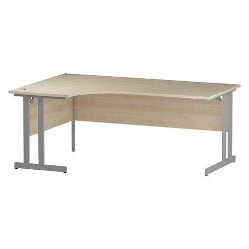 Trexus Radial Desk Left Hand Silver Cantilever Leg 1800mm Maple Ref I000367