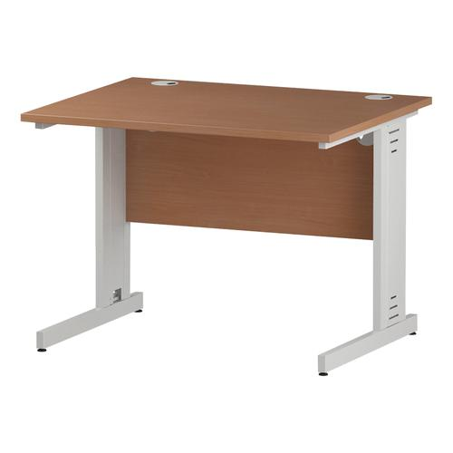 Trexus Rectangular Desk White Cable Managed Leg 1000x800mm Beech Ref I001753