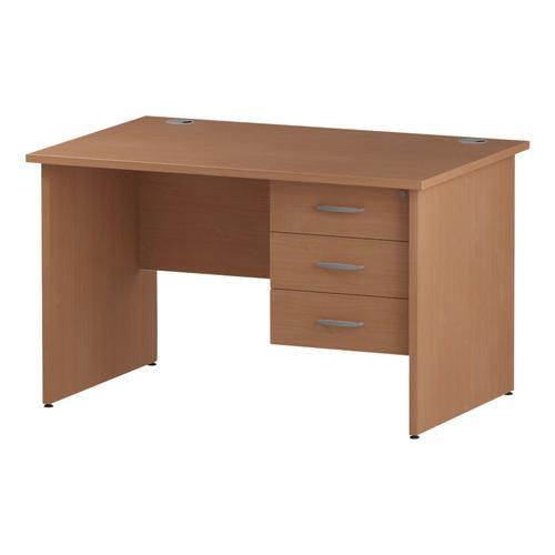 Trexus Rectangular Desk Panel End Leg 1200x800mm Fixed Pedestal 3 Drawers Beech Ref I001737