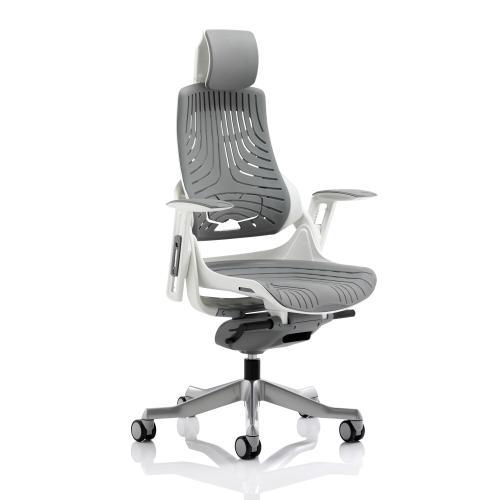 Adroit Zure White Frame Gel Head Rest Charcoal 565x520x450-550mm Ref KC0164