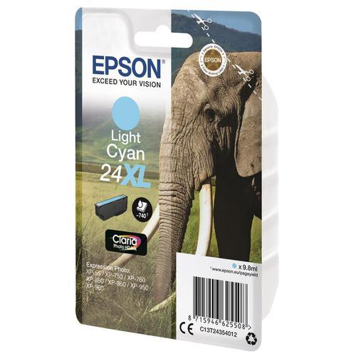 Epson 24XL Inkjet Cartridge High Yield 740pp 9.8ml Light Cyan Ref C13T24354012