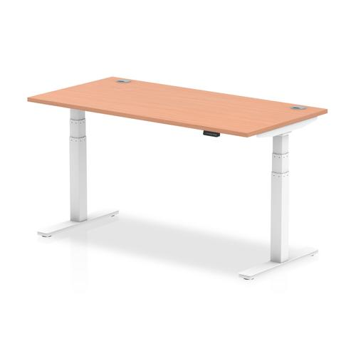Trexus Sit Stand Desk With Cable Ports White Legs 1600x800mm Beech Ref HA01103