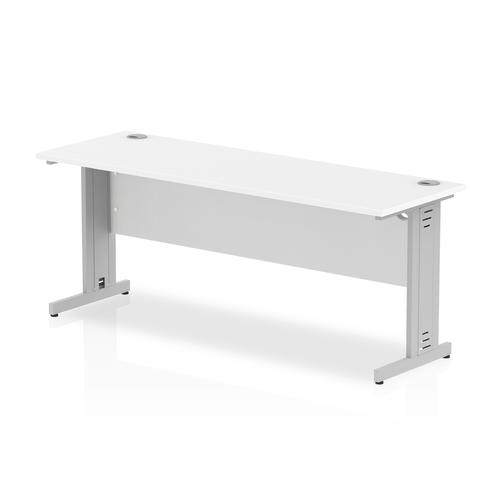 Trexus Desk Rectangle Cable Managed Silver Leg 1800x600mm White Ref MI002279