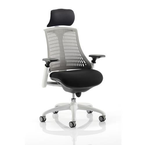 Trexus Flex Task Operator Chair With Arms And Headrest Black Fabric Seat Grey Back White Frame Ref KC0093