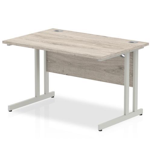 Trexus Rectangular Desk Silver Cantilever Leg 1200x800mm Grey Oak Ref I003066
