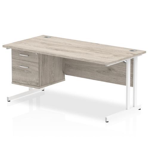 Trexus Rectangular Desk White Cantilever Leg 1600x800mm Fixed Ped 2 Drawers Grey Oak Ref I003496