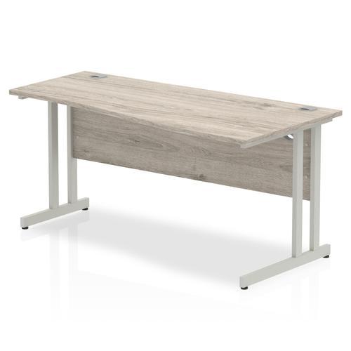 Trexus Wave Desk Right Hand Silver Cantilever Leg 1600mm Grey Oak Ref I003115