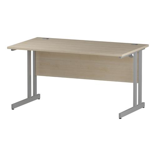 Trexus Rectangular Desk Silver Cantilever Leg 1400x800mm Maple Ref I000350