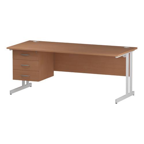 Trexus Rectangular Desk White Cantilever Leg 1800x800mm Fixed Pedestal 3 Drawers Beech Ref I001703