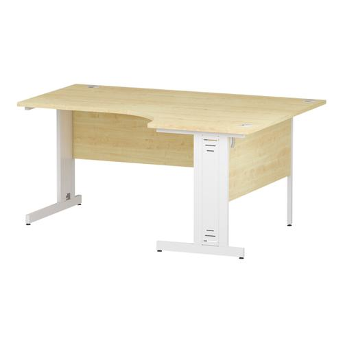 Trexus Radial Desk Right Hand White Cable Managed Leg 1600/1200mm Maple Ref I002623