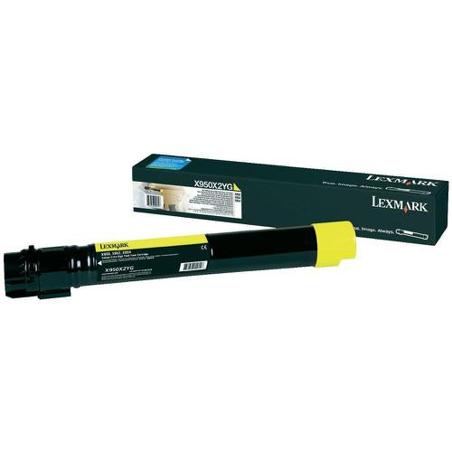 Lexmark X95x Laser Toner Cartridge Extra High Yield Page Life 2200pp Yellow Ref X950X2YG