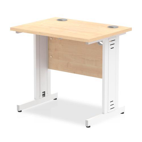 Trexus Desk Rectangle Cable Managed White Leg 800x600mm Maple Ref MI002903