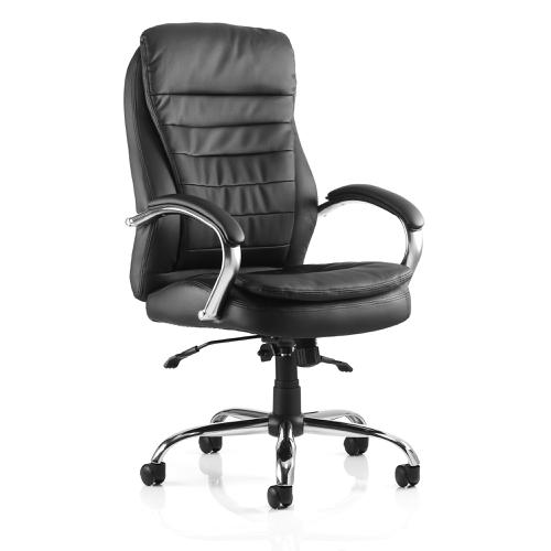 Trexus Romeo Executive Folding Chair With Arms Leather Black Ref EX000063