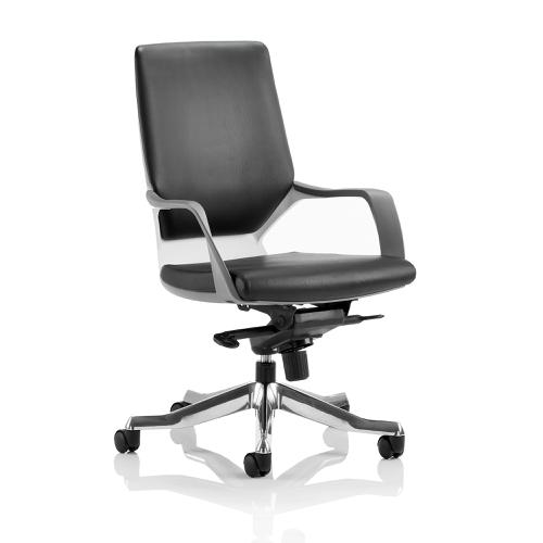 Adroit Xenon Executive With Arms Medium Back White Shell Leather Black Ref EX000095