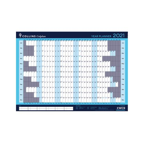 Collins Colplan 2021 Year Wall Planner Landscape Unmounted A1 594x840mm Blue Ref CWC9 2021