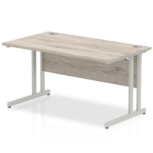 Trexus Rectangular Desk Silver Cantilever Leg 1400x800mm Grey Oak Ref I003070