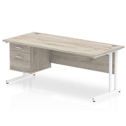 Trexus Rectangular Desk White Cantilever Leg 1800x800mm Fixed Ped 2 Drawers Grey Oak Ref I003521