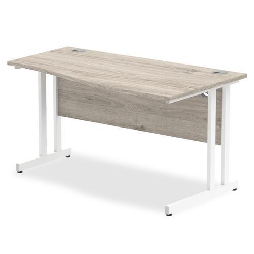 Trexus Wave Desk Right Hand White Cantilever Leg 1400mm Grey Oak Ref I003121