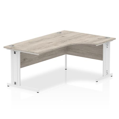 Trexus Radial Desk Right Hand White Cable Managed Leg 1600mm Grey Oak Ref I003533