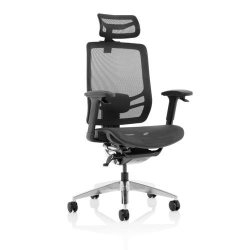 Trexus Ergo Click Mesh Seat Mesh Back Headrest Black Ref KC0297