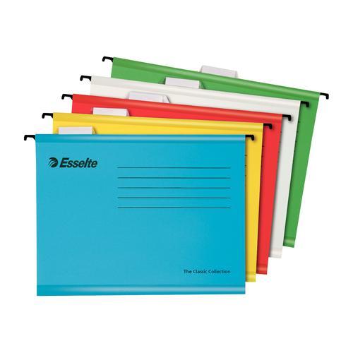 Esselte Classic Reinforced Suspension Files 210gsm A4 Astd Ref 93042 [Pack 10]