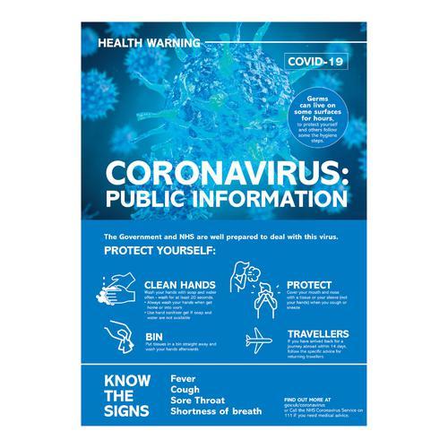 Coronavirus Information Poster A3 , Polypropylene 0.3mm