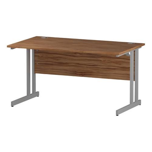 Trexus Rectangular Desk Silver Cantilever Leg 1400x800mm Walnut Ref I001901
