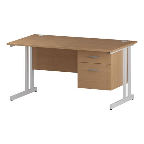 Trexus Rectangular Desk White Cantilever Leg 1200x800mm Fixed Pedestal 2 Drawers Oak Ref I002661
