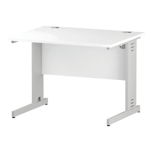 Trexus Rectangular Desk White Cable Managed Leg 1000x800mm White Ref I002270