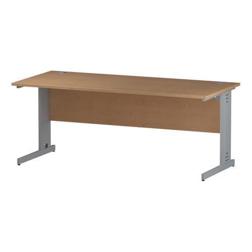 Trexus Rectangular Desk Silver Cable Managed Leg 1800x800mm Oak Ref I000853