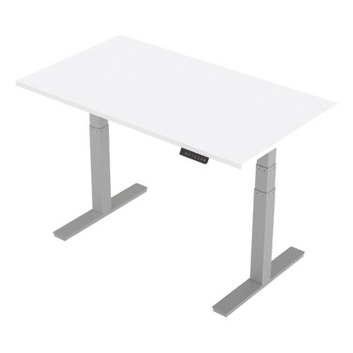 Trexus Sit-Stand Desk Height-adjustable Silver Leg Frame 1400/800mm White Ref HA01010