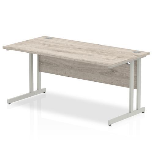 Trexus Rectangular Desk Silver Cantilever Leg 1600x800mm Grey Oak Ref I003074