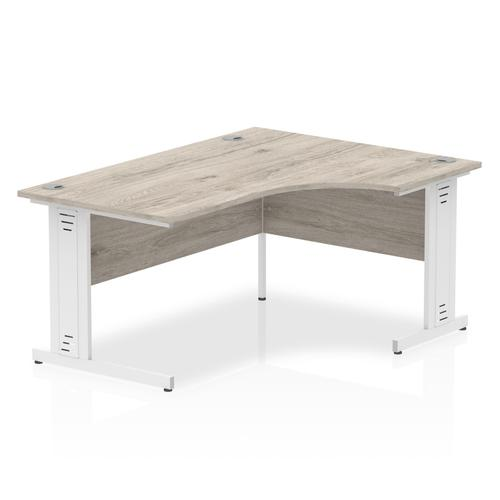 Trexus Radial Desk Right Hand White Cable Managed Leg 1800mm Grey Oak Ref I003535