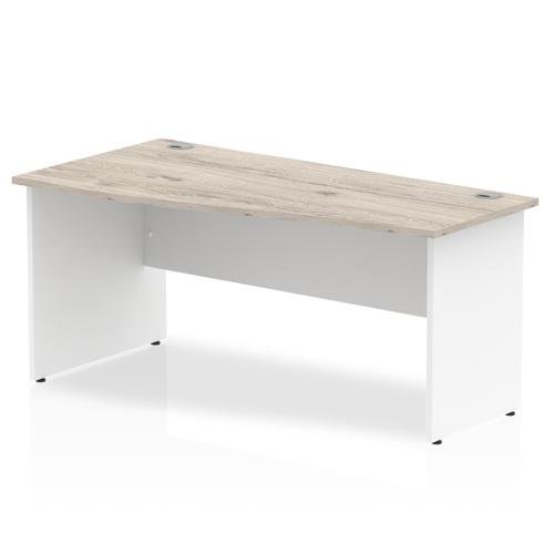 Trexus Wave Desk Left Hand Panel Leg 1600x1000/800x730mm Grey Oak/White Ref TT000159