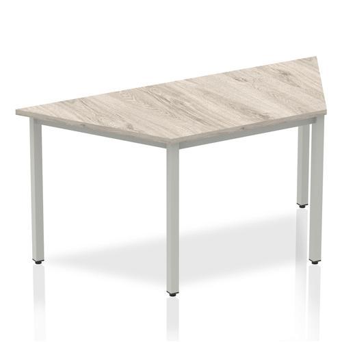 Trexus Trapezoidal Box Frame Silver Leg Table 1600x800mm Grey Oak Ref I003264