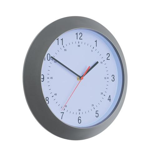 5 Star Facilities Wall Clock with Coloured Case Diameter 300mm Dark Grey