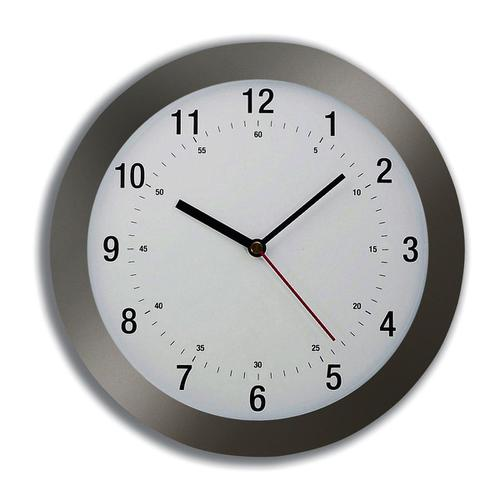 5 Star Facilities Wall Clock Radio Controlled Diameter 300mm Grey