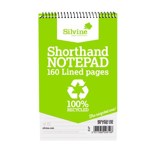 Silvine Recycled Shorthand Pad Wirebound 70gsm Ruled 160pp 127x203mm Green Ref RE160 [Pack 12]