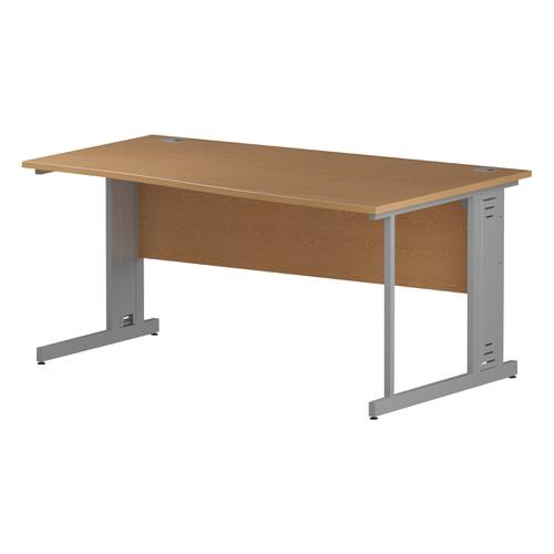 Trexus Wave Desk Right Hand Silver Cable Managed Leg 1600mm Oak Ref I000857