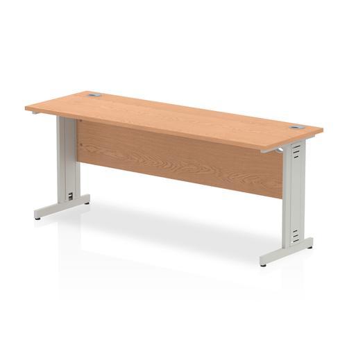 Trexus Desk Rectangle Cable Managed Silver Leg 1800x600mm Oak Ref MI002731