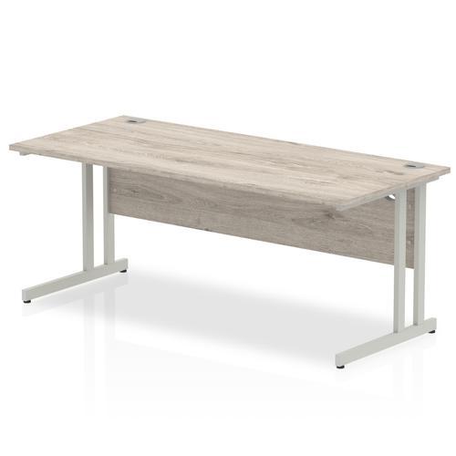 Trexus Rectangular Desk Silver Cantilever Leg 1800x800mm Grey Oak Ref I003078
