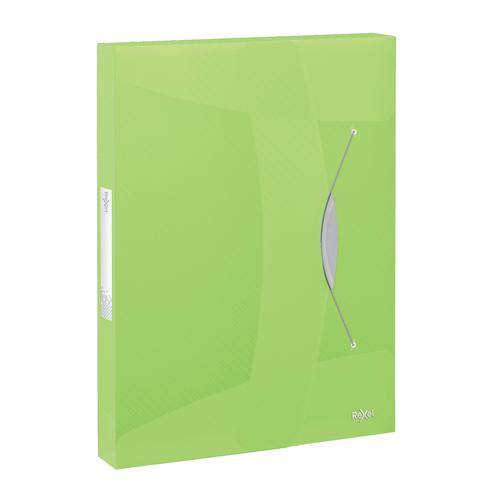 Rexel Choices Box File PP Elastic Strap 40mm Spine A4 Trans Green Ref 2115671