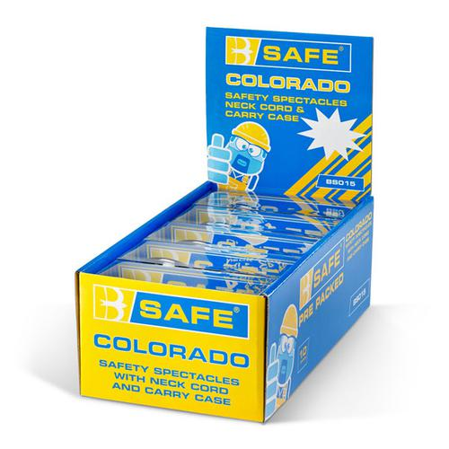 B-Safe Colorado Safety Spectacles Neck Cord and Case Clear Ref BS015 [Pack 10] *Up to 3 Day Leadtime*