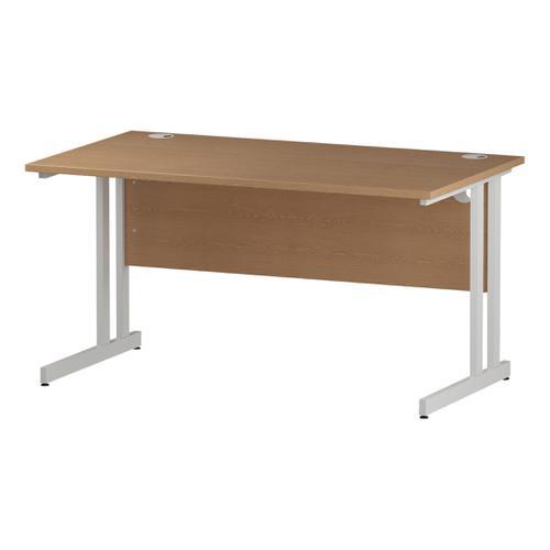 Trexus Rectangular Desk White Cantilever Leg 1400x800mm Oak Ref I002644