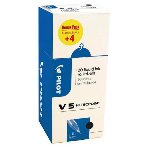 Pilot V5 Hi-Tecpoint Rollerball Pen Liquid Ink 0.5mm Tip Black Ref 3131910516507 [Pack 20] [20 For 16]