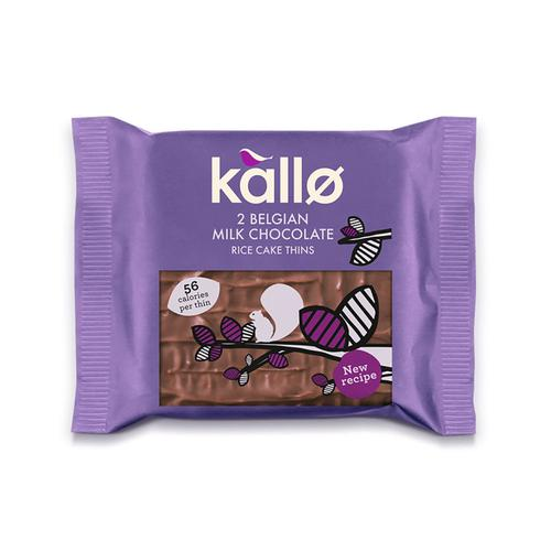 Kallo Gluten-free Rice Cake Thins Milk Chocolate Ref 0401171 [Pack 21]