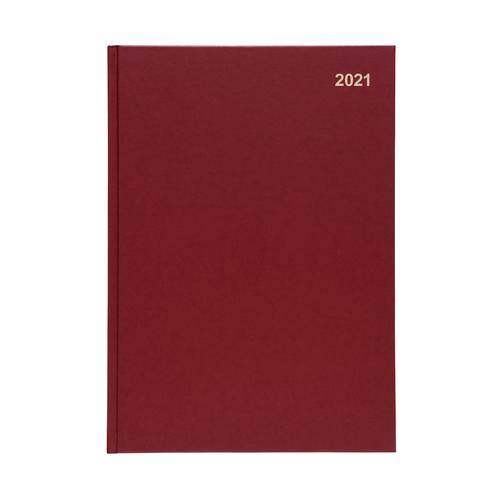 5 Star Office 2021 Diary Day to Page Casebound and Sewn Vinyl Coated Board A4 297x210mm Red