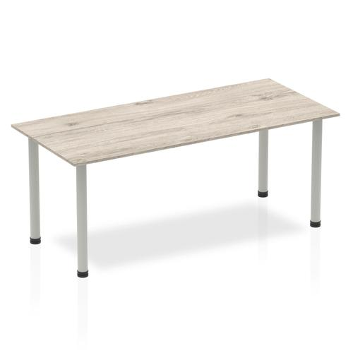 Sonix Square Silver Post Leg Table 1800x800mm Grey Oak Ref